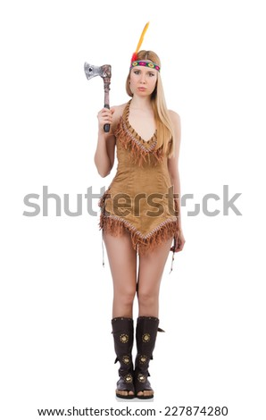 Indian woman with axes on white - stock photo