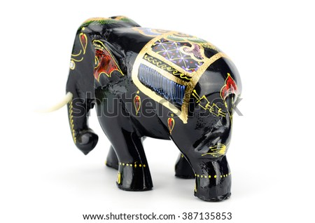 Indian wooden elephants isolated on white background clipping path