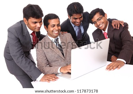 Indian young business people in office isolated on white - stock photo