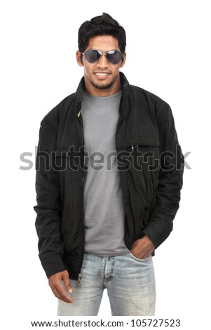 Indian young man on white background