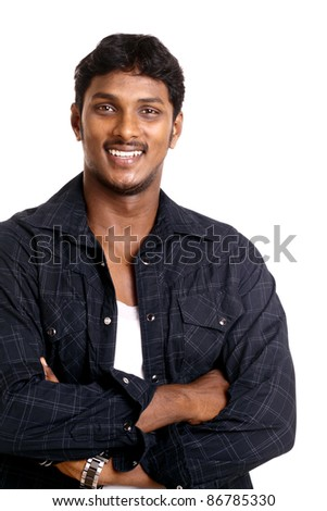 Indian young man posing to the camera. - stock photo