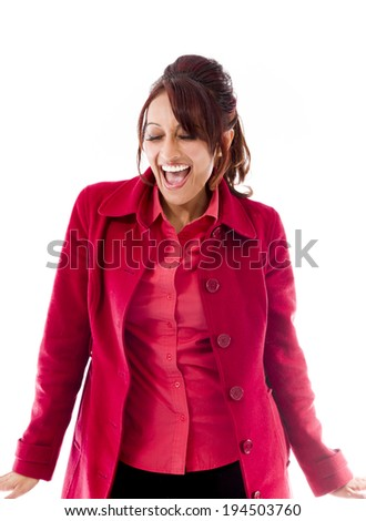 Indian young woman looking excited - stock photo