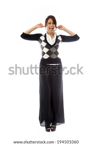 Indian young woman shouting with hands in ear - stock photo