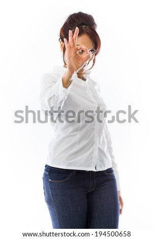 Indian young woman showing ok sign