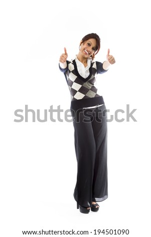 Indian young woman showing thumbs up from both hands isolated on white background - stock photo