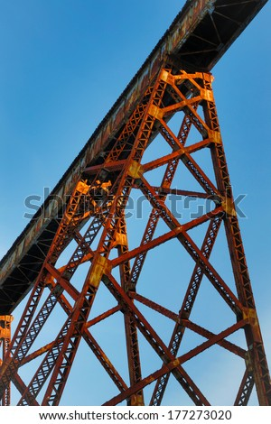 Indiana's Tulip Trestle, as seen from below here, is one of the longest railway bridges in the world. - stock photo