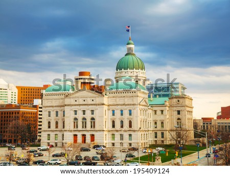 Indiana state capitol building in Indianapolis - stock photo