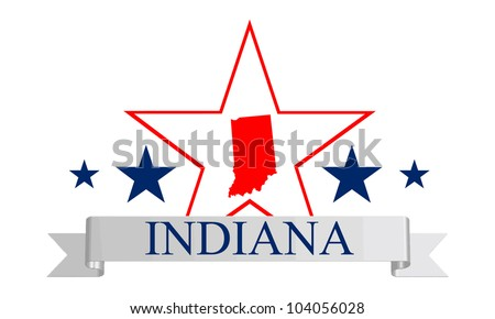 Indiana state map, star and name. - stock photo