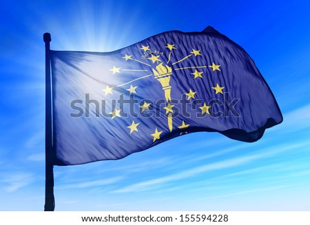 Indiana (USA) flag waving on the wind - stock photo