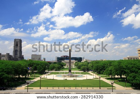 Indiana Veterans Memorial Plaza in downtown Indianapolis, Indiana - stock photo