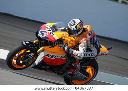 INDIANAPOLIS - AUGUST 27: Italian Honda rider Andrea Dovizioso during practice at 2011 Red Bull MotoGP of Indianapolis on August 27, 2011