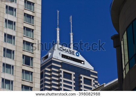 Indianapolis - Circa March 2016: Chase Bank. Chase is the U.S. Consumer and Commercial Banking Business of JPMorgan Chase II