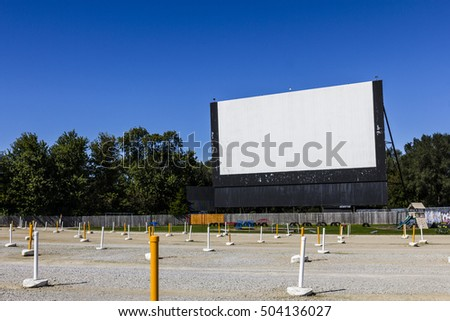 Indianapolis - Circa October 2016: Old Time Drive-In Movie Theater with Outdoor Screen and Playground II