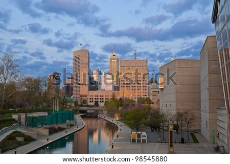 Indianapolis. Image of downtown Indianapolis, Indiana at sunset. - stock photo