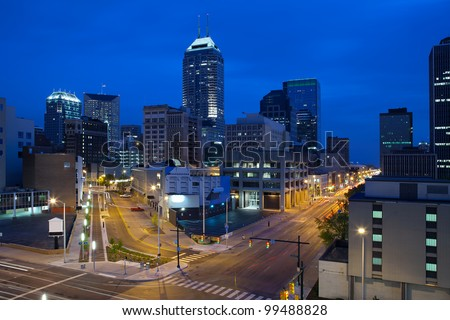 Indianapolis. Image of the Indianapolis skyline and streets during twilight blue hour. - stock photo