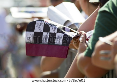 INDIANAPOLIS, IN - JULY 24:  Fans try to get their favorite drivers autographs at the Brickyard 400 race at the Indianapolis Motor Speedway on July 24, 2010 in Indianapolis, IN. - stock photo
