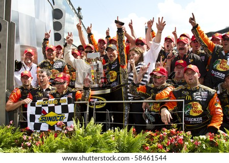 INDIANAPOLIS, IN - JULY 25:  Jamie McMurray wins the Brickyard 400 race at the Indianapolis Motor Speedway on July 25, 2010 in Indianapolis, IN . - stock photo