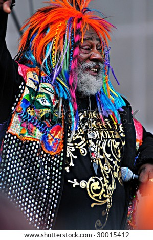 INDIANAPOLIS, IN - MAY 9: Singer George Clinton performs at the stage of Indy 500 pole day May 9, 2009 in Indianapolis, IN - stock photo