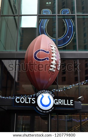 INDIANAPOLIS, IN - NOVEMBER 23: The Colts Grille is the very first restaurant and bar tied to the NFL's Indianapolis Colts. Pictured on November 23, 2012 in Indianapolis, Indiana. - stock photo