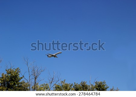 INDIANAPOLIS, IN - OCTOBER 10:  Continental Airlines Passenger Jet Taking Off From Indianapolis International Airport 2013 - stock photo