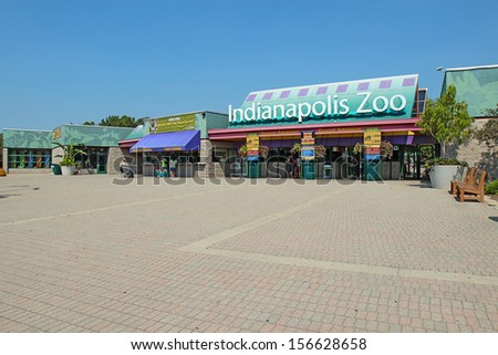 INDIANAPOLIS, INDIANA -� SEPTEMBER 3: Entrance to the Indianapolis Zoo on September 3, 2011. This zoo plays an important role in species conservation and hosts more than a million visitors a year. - stock photo