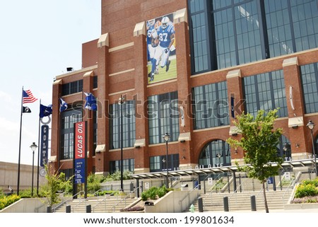 INDIANAPOLIS - JUNE 17: Lucas Oil Stadium, home of the Indianapolis Colts football team, is shown June 17, 2014. It covers nearly 1.8 million square feet and hosts almost one million visitors a year.  - stock photo