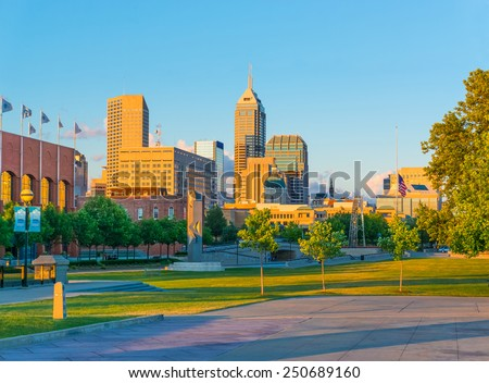 Indianapolis skyline and White River State Park, Indiana - stock photo