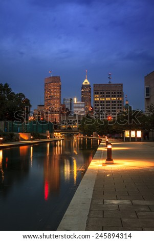 Indianapolis skyline at night - stock photo