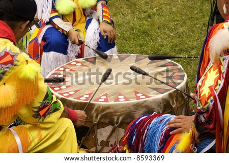Indians Drumming at a Pow Wow - stock photo