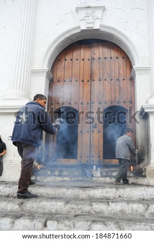 Indians in front of church of  El Calvario in Chichicastenango, Guatemala, 5 february 2014