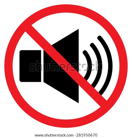 Indicating signal to noise ban. Speaker with prohibition sign. Silence, mute. Red prohibition sign. Stop symbol