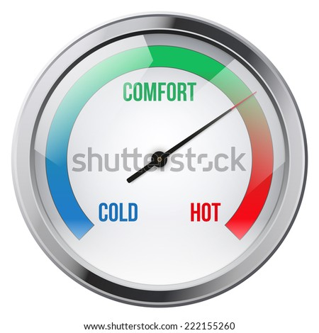 Indicator meter of comfort between cold and hot. Illustration on white background. - stock photo