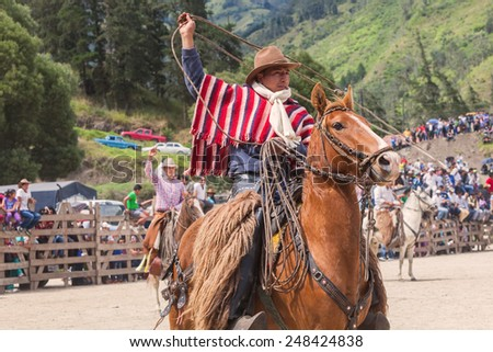 Indigenous Cowboy Riding Horse And Swinging Lasso, South America  - stock photo