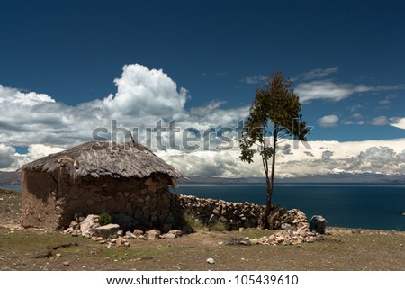 Indigenous house on isla del sol on the lake titicaca in Bolivia - stock photo