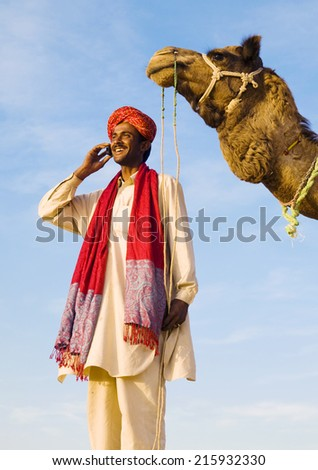 Indigenous Indian man making a call. - stock photo