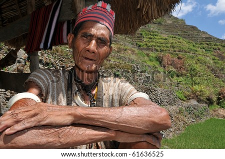 Indigenous senior citizen of the mountains in Southeast Asia. - stock photo