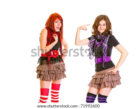 Indignant girl with hand on chest and her girlfriend showing crazy gesture isolated on white - stock photo