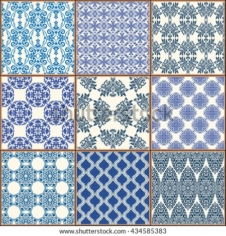 Indigo Blue Tiles Floor Ornament Collection. Gorgeous Seamless Patchwork Pattern from Colorful Traditional Painted Tin Glazed Ceramic Tilework Vintage Illustration Art template background jpg Art