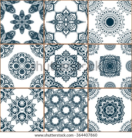 Indigo blue Tiles Floor Ornament Collection. Gorgeous Seamless Patchwork Pattern from Traditional Painted Tin Glazed Ceramic Tilework Vintage Illustration. For web page template background - stock photo