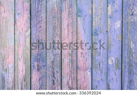 Indigo blue  wooden planks background - Colorful outer fence deteriorated by time - Closeup of wood board painted surface - Fashion background with vintage color - Original colors focus from middle - stock photo