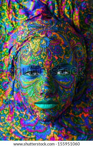 indigo color decoupage face art woman close up portrait - stock photo