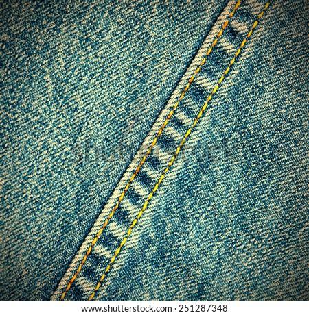 indigo jeans background with seams - stock photo