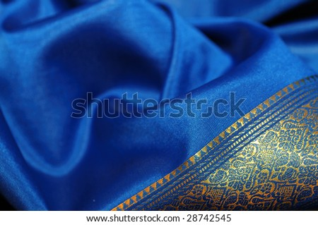 Indigo textile silk cloth - Indian traditional dress - sari