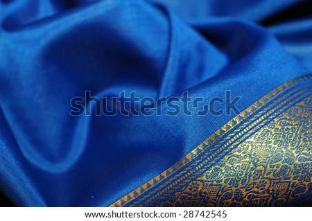 Indigo textile silk cloth - Indian traditional dress - sari - stock photo