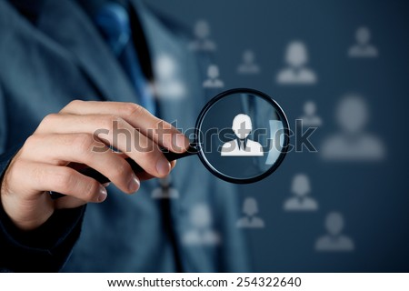 Individual customer service care, personalization, marketing segmentation and targeting, customer relationship management (CRM) and headhunter human resources concepts. - stock photo