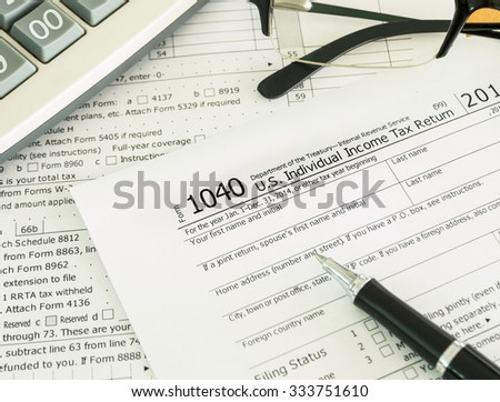 Individual Income Tax Return Form On Stock Photo Edit Now