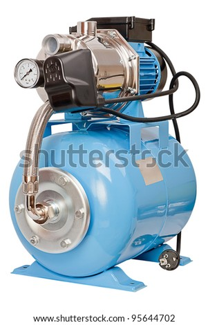 Individual pumping station for the home. Electric high pressure pump, isolated on white background - stock photo