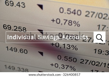 Individual savings accounts written in search bar with the financial data visible in the background.