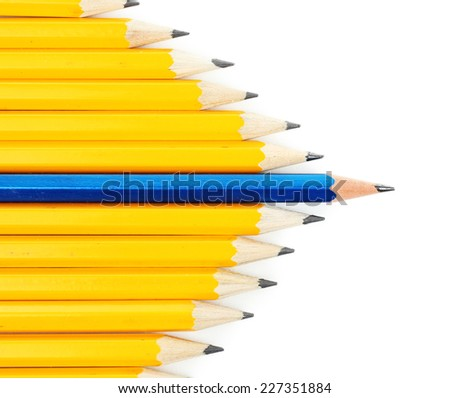 Individuality concept. Pencils isolated on white - stock photo