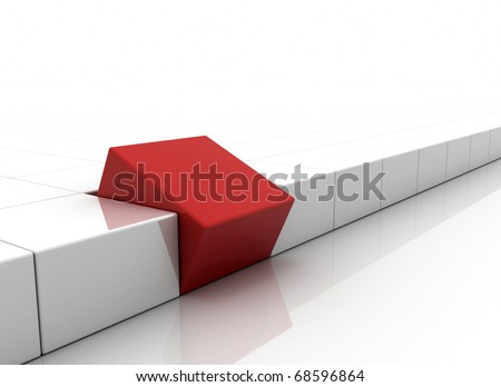 Individuality - red box standing out - stock photo